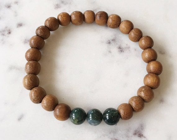 Robles Wood Beaded Bracelet with Polished Moss AGATE Healing Beads// B.J.B.A.// MEN'S BRACELET// Healing Bracelet// Unisex Bracelet// Agate