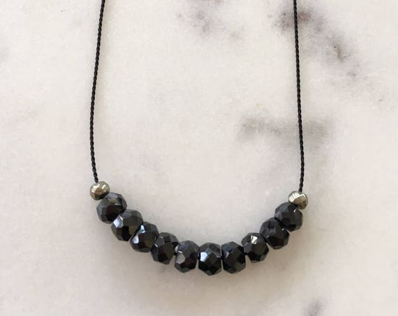 Black Spinel GEM DROP Healing NECKLACE w/ Faceted Spinel and Pyrite Beads on Silk Cord/ Layering Necklace/ Healing Necklace/ Petite Necklace