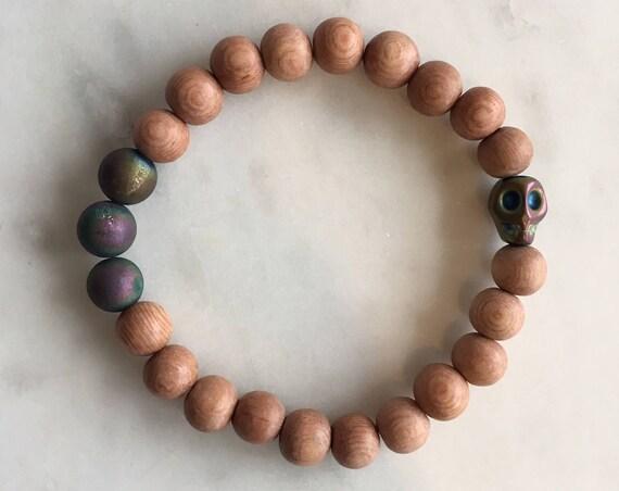 Beautiful Frosted Titanium Rainbow AGATE + Hematite SKULL Healing Beads w/Rose Wood Beaded Bracelet// Stacking Bracelet// Statement Bracelet