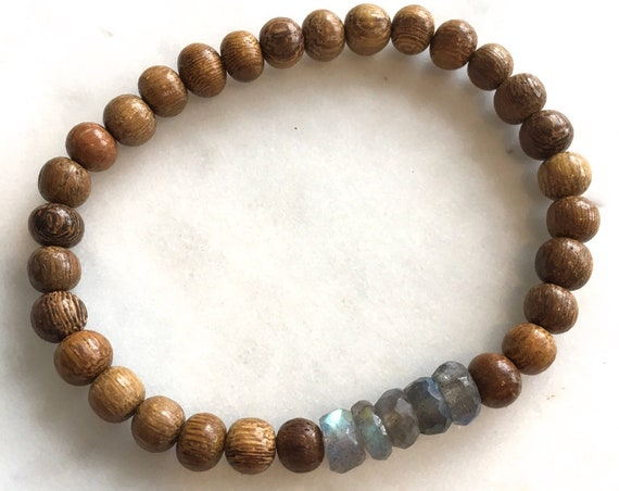 Beautiful Faceted LABRADORITE Healing Beads w/ Robles Wood Beaded Bracelet// Stacking Bracelet// Statement Bracelet// Labradorite Jewelry