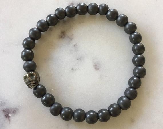 "Frosted Hematite Beaded Bracelet w/ PYRITE Healing Skull// Healing Bracelet// Day of the Dead ""Dia De Los Muertos"" Bracelet// Crystal Skull"