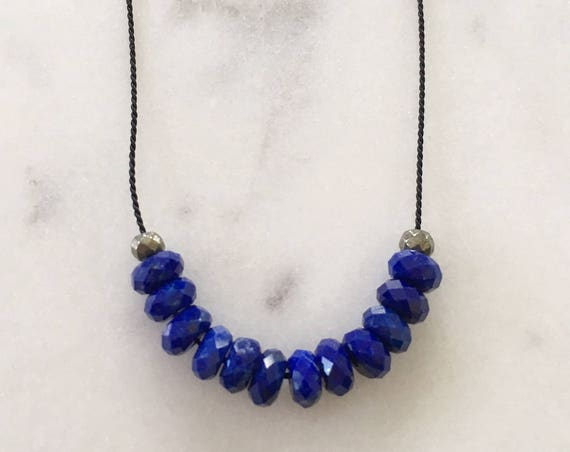 Lapis Lazuli GEM DROP Healing NECKLACE w/ Faceted Lapis and Pyrite Beads on Silk Cord// Layering Necklace/ Healing Necklace/ Petite Necklace