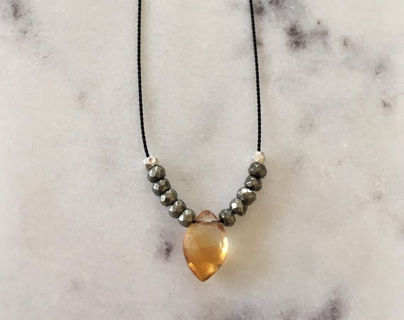Citrine GEM DROP Healing NECKLACE with Faceted Citrine + Pyrite + Silver Beads on Silk Cord/ Layering Necklace/ Healing Necklace/ Confidence