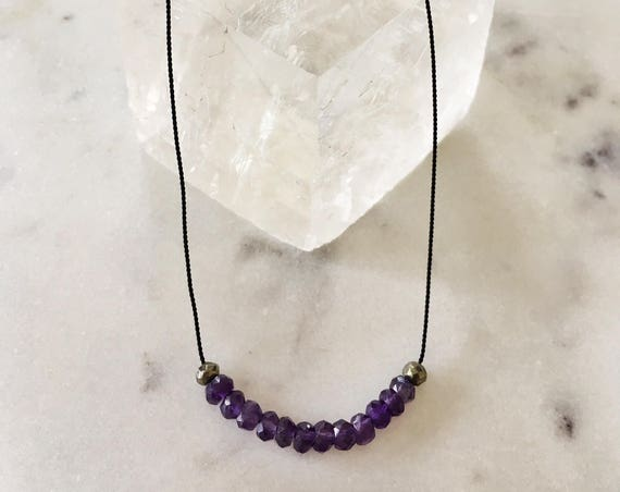 Amethyst + Pyrite GEM DROP Healing NECKLACE w/ Faceted Beads on Silk Cord// Layering Necklace/ Healing Necklace/ February Birthstone Jewelry