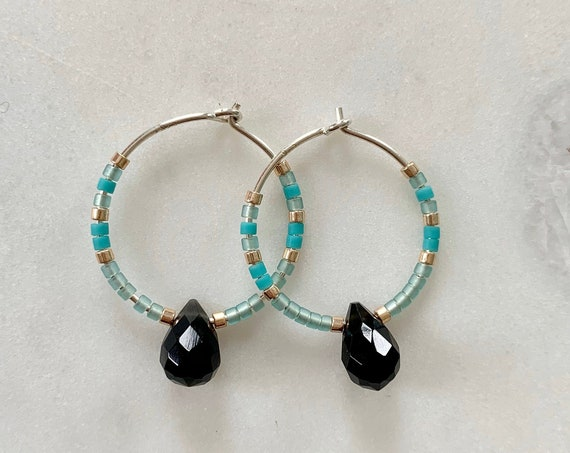Turquoise + Gold Glass Beaded + Dangle Black OBSIDIAN Sterling Silver HOOP Earrings/ Earrings/ Hoop Earrings/ Trendy Hoops/ Beaded Hoops