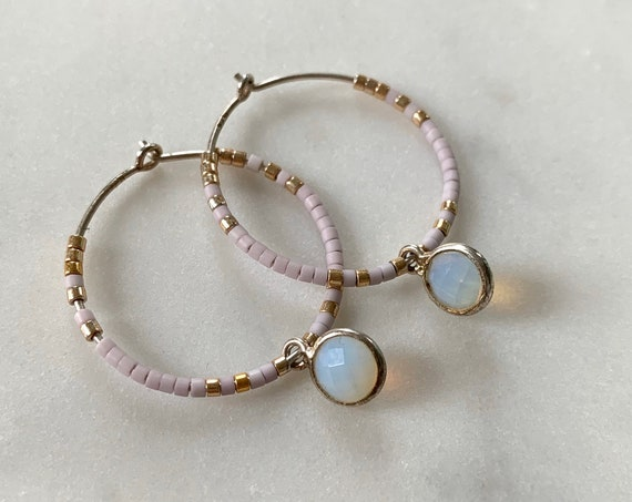 Pink + Gold Glass Beaded + Dangle OPALITE Sterling Silver HOOP Earrings/ Earrings/ Hoop Earrings/ Trendy Hoops/ Beaded Earrings/ Sea Opal