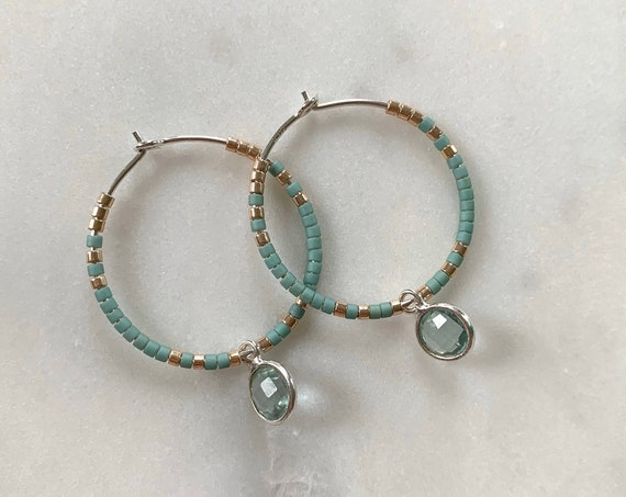 Turquoise + Gold Glass Beaded + Dangle BLUE TOPAZ Sterling Silver HOOP Earrings/ Earrings/ Hoop Earrings/ Beaded Hoops/ Mother's Day