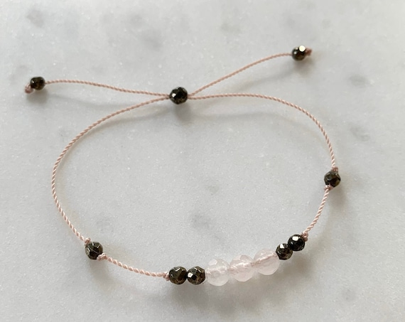 GODDESS Collection> ROSE QUARTZ+ Pyrite Healing Beads// Faceted Gemstones// Minimalism// Adjustable Nylon Bracelet// Layering// Pop of Color