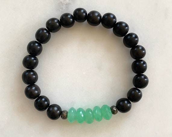 Beautiful Faceted CHRYSOPRASE + Pyrite Healing Beads w/Tiger Ebony Wood Beaded Bracelet/ Stacking Bracelet/ Statement Bracelet/ Heart Chakra