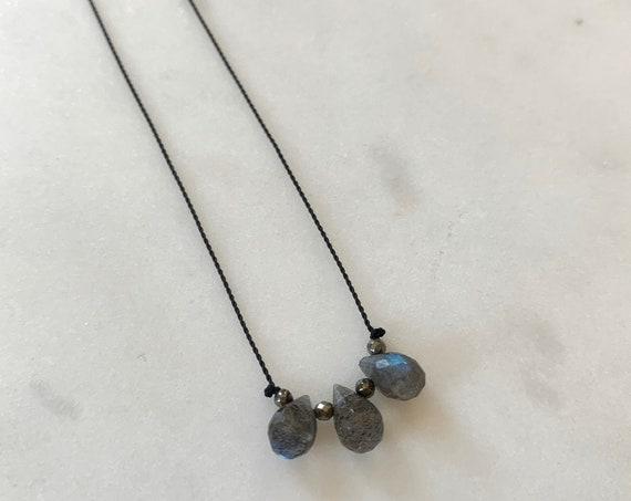 LABRADORITE Trio GEM Drop Healing NECKLACE w/Faceted Briolette + Pyrite Beads on Nylon Cord// Layering Necklace// Healing Necklace