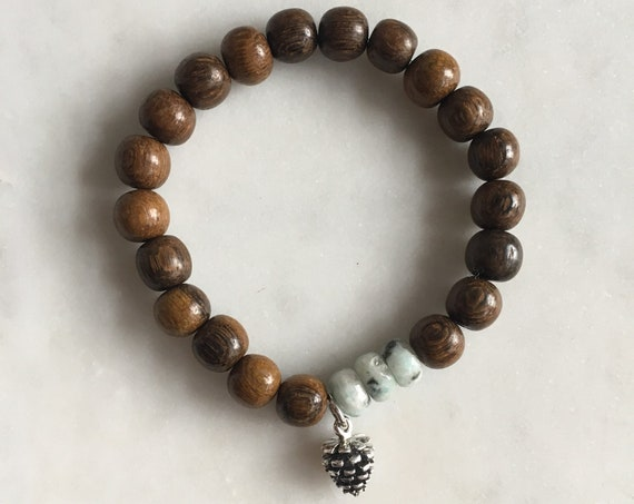 Faceted KIWI JASPER Healing Beaded Bracelet with Robles Wood Beads + PINECONE Charm// Charm Bracelet// Stacking Bracelet// Healing Bracelet
