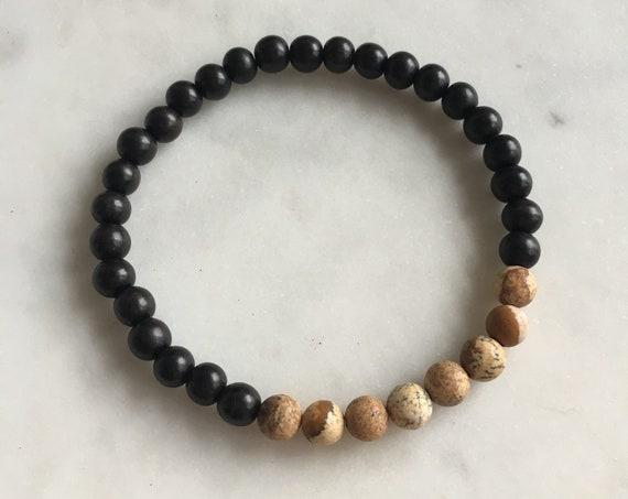 Polished LANDSCAPE Jasper Healing Beads w/ Tiger Ebony Wood Beaded Bracelet// B.J.B.A.// MEN'S BRACELET// Healing Bracelet// Unisex// Jasper