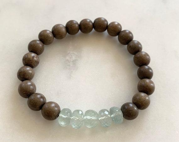 Beautiful Faceted PREHNITE Healing Beads w/Gray Wood Beaded Bracelet// Healing Bracelet// Stacking Bracelet// Quality Prehnite// Heart Stone