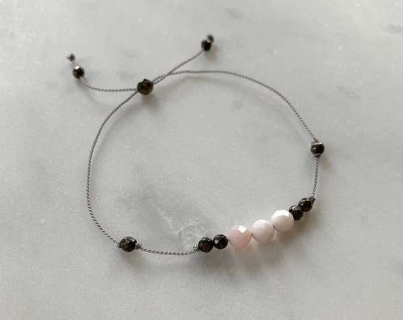 GODDESS Collection> Pink OPAL + Pyrite Healing Beads// Faceted Gemstones// Minimalism// Adjustable Nylon Bracelet// Layering// Pop of Color