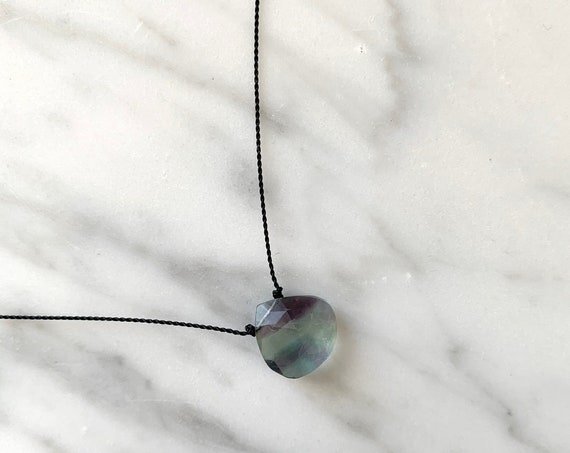 Rainbow FLUORITE Gem Drop Healing NECKLACE w/Faceted Briolette Bead on Sturdy Cord w/ Sterling Clasp// Layering Necklace// HEALING Necklace