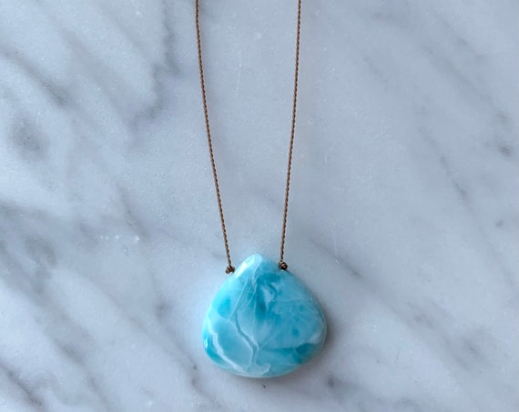 Stunning LARIMAR Gem Drop Healing Necklace with Polished Drop Bead on Cord/ Layering Necklace/ HEALING Necklace// Goddess Jewelry/ Larimar