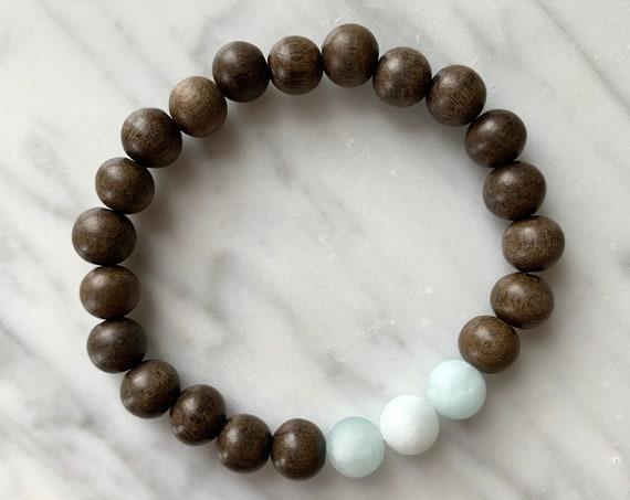Matte AQUAMARINE Healing Beaded Bracelet w/Gray Wood// B.J.B.A.// MEN'S Bracelets// Healing Bracelet// Unisex Bracelet// MARCH Birthstone
