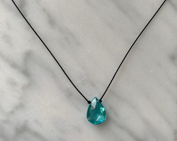 APATITE Gem Drop Healing NECKLACE w/ Apatite Briolettes Bead on Nylon Cord// Layering Necklace/ HEALING Necklace/ Petite Necklace// Apatite