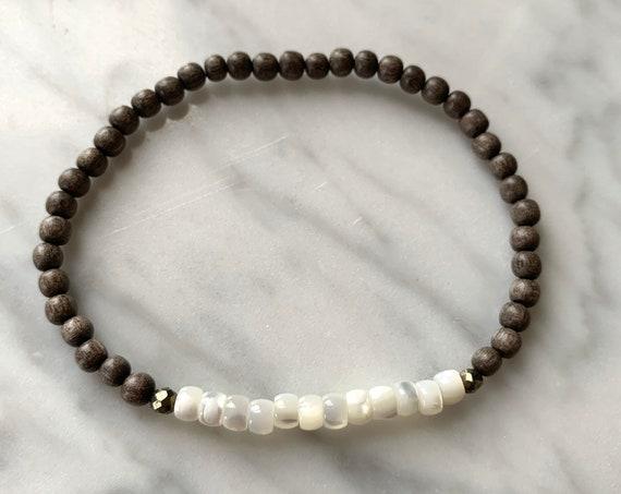 Itty Bitty Mother of PEARL Shell + Pyrite Healing Bracelet w/Gray Wood Beads/ Statement Bracelet/ Healing Bracelet/ Nautical/ Summer Style