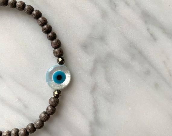 Itty Bitty Mother of Pearl EVIL EYE + Pyrite Healing Bracelet w/Gray Wood Beads//Healing Bracelet// Evil Eye Bracelet// Protection Jewelry