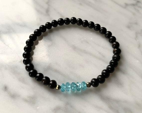 Itty Bitty Faceted APATITE + Pyrite Healing Bracelet w/Ebony Wood Beads/ Statement Bracelet/ Healing Bracelet// Throat Chakra// Blue Apatite