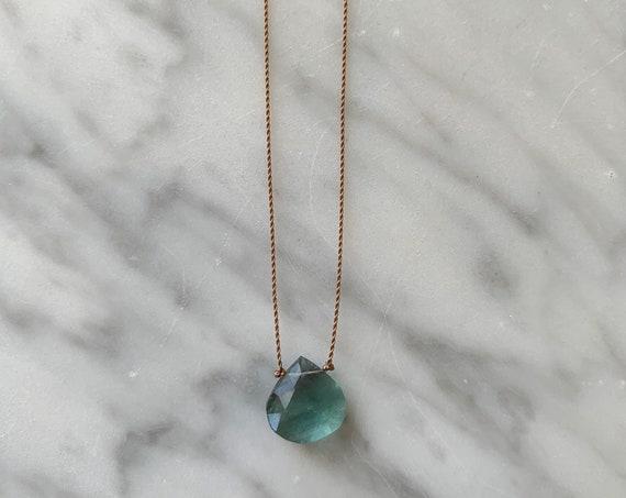 Green FLUORITE Gem Drop Healing NECKLACE w/Faceted Briolette Bead on Sturdy Cord w/ Sterling Clasp// Layering Necklace// HEALING Necklace