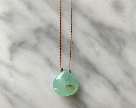 CHRYSOPRASE GEM Drop Healing Necklace w/Faceted Briolette Bead on Brown Cord// Layering Necklace/ HEALING Necklace// Chrysoprase Necklace