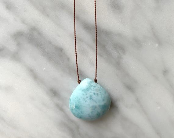 LARIMAR GEM Drop HEALING Necklace w/Polished Drop Bead on Brown Cord// Layering Necklace/ Healing Necklace/Goddess Jewelry/ Larimar Jewelry