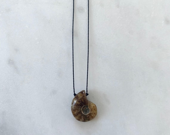 AMMONITE Fossil GEM Drop Healing NECKLACE w/Polished Drop Bead on Cord w/Sterling Clasp// Layering Necklace// Healing Necklace// Fossilized