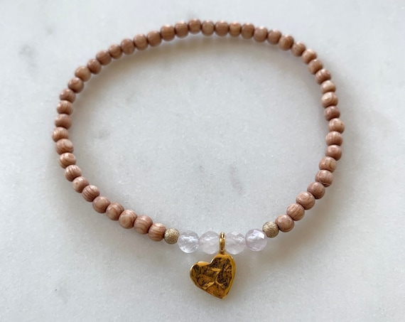 Stunner Collection> Rose QUARTZ Healing Beads + Gold Vermeil Heart Charm w/ Rose Wood Beads// Healing Bracelet// Charm Bracelet/ Love Stones