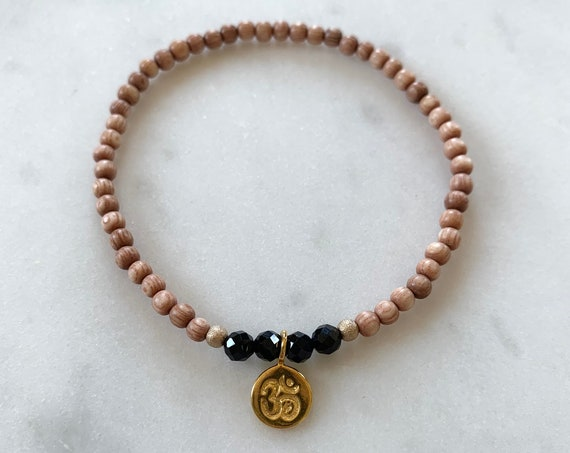Stunner Collection> Black SPINEL Healing Beads + Gold Vermeil OM Charm w/Rose Wood Beads// Healing Bracelet// Charm Bracelet// Ohm Charm