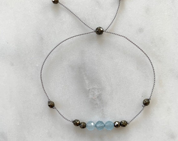 GODDESS Collection> AQUAMARINE + Pyrite Healing Beads// Faceted Gemstones// Minimalism// Adjustable Nylon Bracelet// March Birthstone