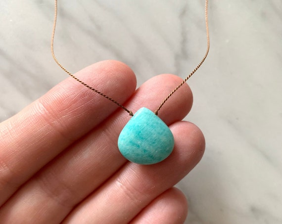 AMAZONITE GEM Drop Healing NECKLACE w/Polished Drop Bead on Nylon Cord/ Layering Necklace/ Healing Necklace/ Delicate Necklace/Stress Relief