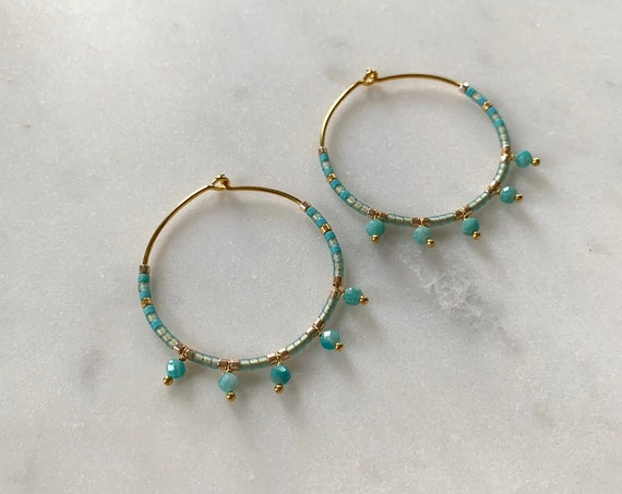 Teal Tones + Gold Glass Beaded + Dangle AMAZONITE Gold Vermeil HOOP Earrings Hoop Earrings/ Trendy Hoops/ Beaded Earrings/ Mothers Day Gifts