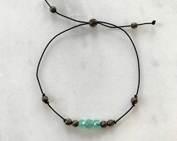 GODDESS Collection> CHRYSOPRASE+ Pyrite Healing Beads// Faceted Gemstones// Minimalism// Adjustable Nylon Bracelet// Layering// Pop of Color