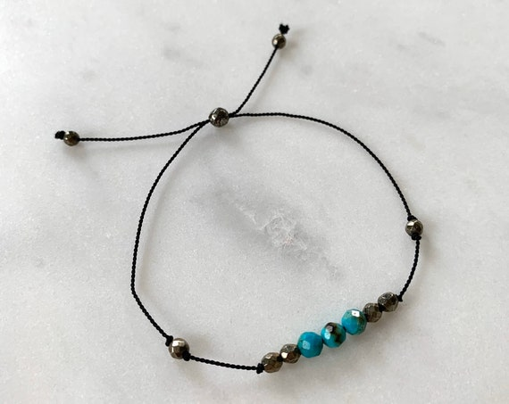 GODDESS Collection> CHRYSOCOLLA+ Pyrite Healing Beads// Faceted Gemstones// Minimalism// Adjustable Nylon Bracelet// Layering// Pop of Color