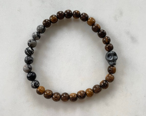 Hematite SKULL + Matte Net JASPER Healing Beads on Beaded Wood Bracelet// Healing Bracelet/ Day of the Dead// Dia De Los Muertos/ Protection