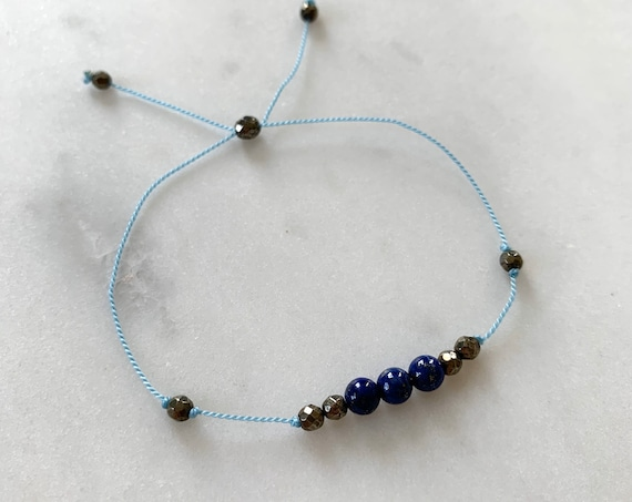 GODDESS Collection> LAPIS LAZULI + Pyrite Healing Beads// Faceted Gemstones// Minimalism// Adjustable Nylon Bracelet// Friendship Bracelets
