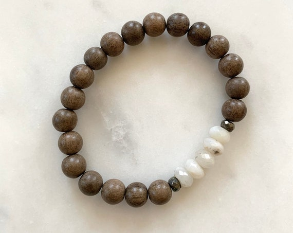 Beautiful Faceted OPAL + Pyrite HEALING Beads w/Gray Wood Beaded BRACELET// Stacking// Statement Bracelet// Birthstone Jewelry// October