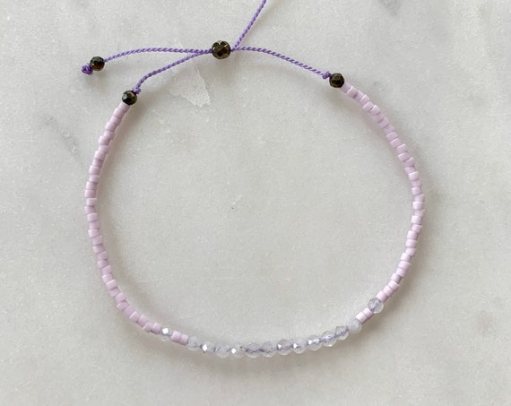 GODDESS Collection> RAINBOW MOONSTONE Healing Beads w/Matte Light Lavender Glass Beads/ Adjustable Nylon Bracelet/Layering/ Pop of Color