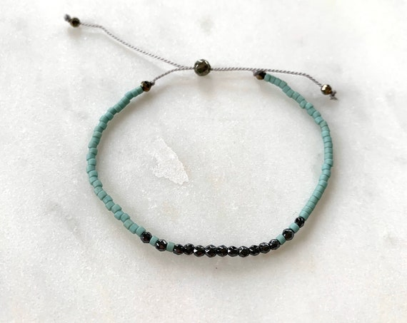 GODDESS Collection> HEMATITE Healing Beads w/Matte Rustic Turquoise Glass Beads/ Adjustable Nylon Bracelet/Layering/ Pop of Color/ Grounding