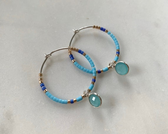 Blue Tones + Gold Glass Beaded + Dangle BLUE CHALCEDONY Sterling Silver HOOP Earrings/ Earrings/ Hoop Earrings/ Beaded Hoops/ Mother's Day
