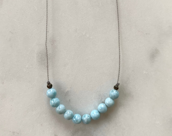 Larimar GEM DROP Healing Necklace w/Mini Polished LARIMAR + Faceted Pyrite on Nylon Cord// Layering Necklace/ Healing Necklace/ Calming