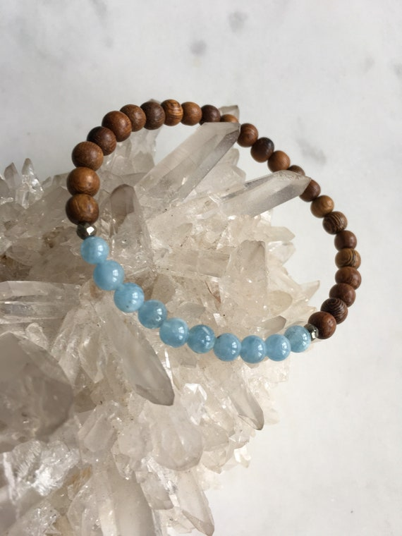 Beautiful Polished AQUAMARINE + Faceted PYRITE Healing Beads on Robles Wood Beaded Bracelet// Statement Bracelet/ Birthstone Jewelry// MARCH