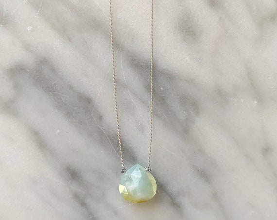 Peruvian Blue Opal GEM DROP Healing Necklace with Faceted Briolette Bead on Sturdy Cord// Healing Necklace// OCTOBER Birthstone Jewelry