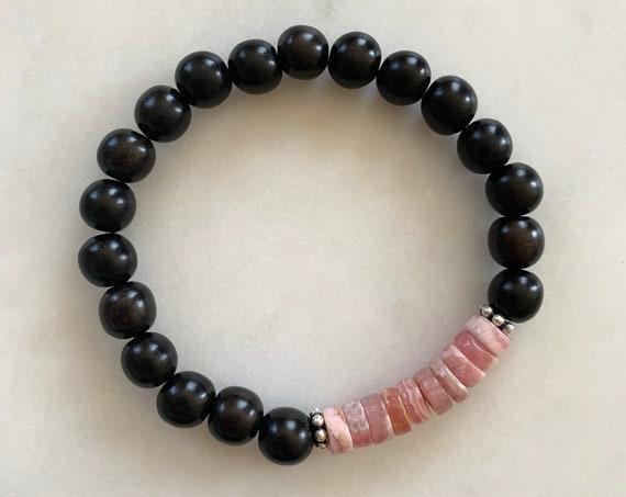 Beautiful RHODOCHROSITE + Pyrite Healing Bracelet w/Tiger Ebony Wood Beads/ Statement Bracelet/ Healing Bracelet// Heart Chakra Stone// Love