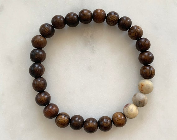 Matte Crazy Lace AGATE Healing Beads w/Robles Wood Beaded Bracelet// B.J.B.A./MEN'S BRACELET// Healing Bracelet/ Unisex// Grounding Jewelry