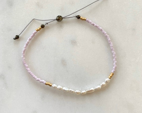 GODDESS Collection> PEARL Healing Beads w/Matte Gold + Light Lavender Glass Beads/ Adjustable Nylon Bracelet/ Layering/ Pop of Color/ Pearl