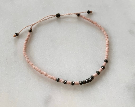 GODDESS Collection> PYRITE Healing Beads w/Matte Light Pink Glass Beads/ Adjustable Nylon Bracelet/Layering/ Pop of Color/ Positivity