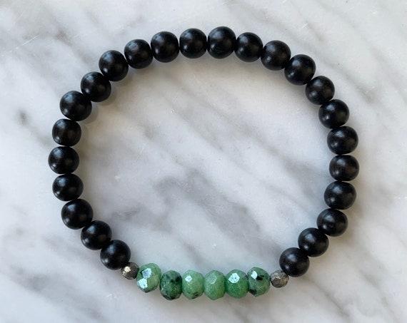 Stunning ZOISITE w/RUBY + Pyrite Healing Beads w/Ebony Wood Beaded Bracelet// Stacking Bracelet// Statement Bracelet/ Healing// Heart Chakra